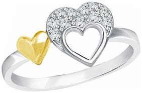 Vighnaharta Classy Double Heart CZ  Rhodium Plated Alloy Ring for Women and Girls