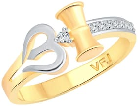 Vighnaharta Trishul Band CZ Gold and Rhodium Plated Alloy Gents Ring for Men & Boys