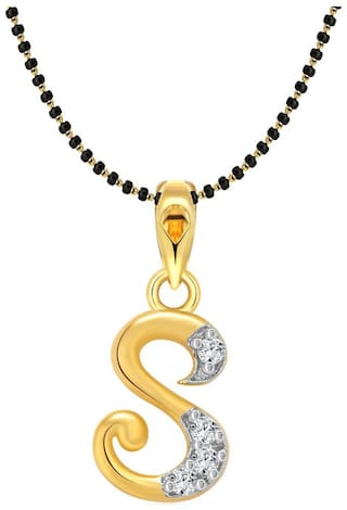 Vighnaharta Initial Letter S Gold and Rhodium Plated Mangalsutra Chain Pendant
