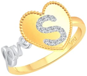 Vighnaharta Valentine Love S Letter in Heart CZ Gold and Rhodium Plated Alloy Ring for Women and Girls - [VFJ1289FRG11]