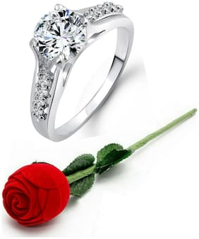 Vighnaharta Engagement Solitaire CZ Rhodium Plated Alloy Ring with Rose Ring Box for Women and Girls - [VFJ1029ROSE14]