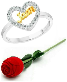 Vighnaharta My Love JAAN CZ  Rhodium Plated Alloy Ring with Rose Ring Box for Women and Girls