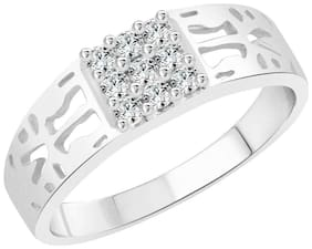 Vighnaharta Texture Design CZ Rhodium Plated Alloy Gents Ring for Men & Boys