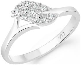 Vighnaharta Simple Finger Leaf CZ Rhodium Plated Alloy Finger Ring for Women and Girls - [VFJ1322FRR]