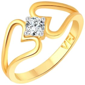 Vighnaharta Secret Love Solitaire CZ Gold and Rhodium Plated Alloy Finger Ring for Women and Girls