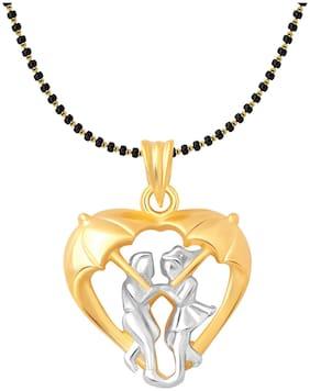 Vighnaharta Mansoon Heart Gold and Rhodium Plated Mangalsutra Chain Pendant- VFJ1161MSPG