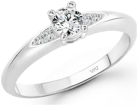 Vighnaharta Elegant solitaire cz Rhodium Plated Alloy Ring for Women and Girls-[VFJ1424FRR14]