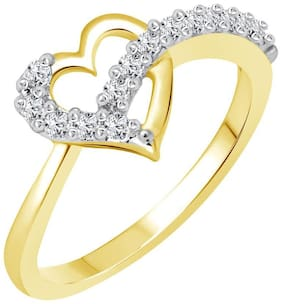 Vighnaharta Lovable Heart (CZ) Gold and Rhodium Plated Ring for Women