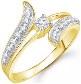Vighnaharta Glowing Shine (CZ) Gold and Rhodium Plated Ring for Women