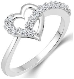 Vighnaharta Valentines (CZ) Silver and Rhodium Plated Ring for Women