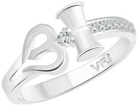 Vighnaharta Trishul Band CZ Rhodium Plated Alloy Gents Ring for Men & Boys