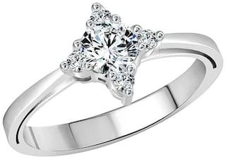 Vighnaharta Brilliant Solitaire (CZ) Rhodium Plated Alloy Ring For Women and Girls