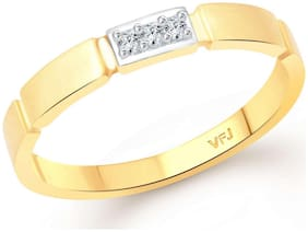Vighnaharta Delicate Box Band CZ Gold and Rhodium Plated Alloy Finger Ring for Women and Girls - [VFJ1332FRG]
