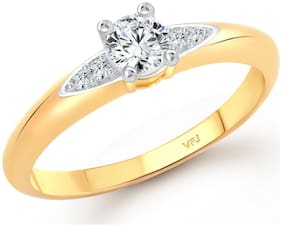 Vighnaharta Elegant solitaire cz Gold and Rhodium Plated Alloy Ring for Women and Girls-[VFJ1424FRG15]