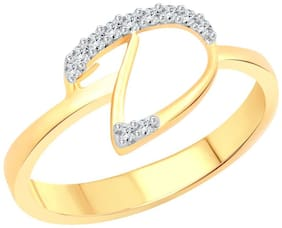 Vighnaharta initial ''D'' Letter (CZ) Gold and Rhodium Plated Alloy Ring For Women and Girls