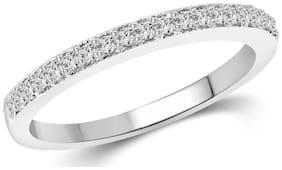 Vighnaharta Half Round (CZ) Rhodium Plated Ring for Women