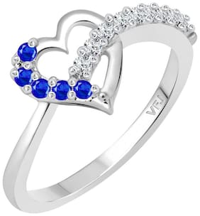 Vighnaharta king of Hearts CZ Rhodium Plated Alloy Ring for Women and Girls - [VFJ1292FRR16]
