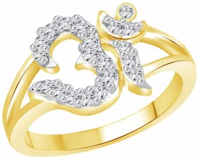 Vighnaharta Golden Shine OM CZ Gold and Rhodium Plated Ring for Women - [VFJ1161FRG/Size12]