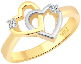 Vighnaharta Valentine's Double Heart CZ Gold and Rhodium Plated Alloy Ring for Women and Girls - [VFJ1270FRG16]