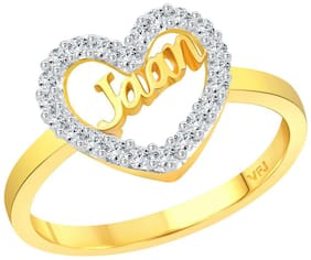 Vighnaharta My Love JAAN CZ Gold and Rhodium Plated Alloy Ring for Women and Girls - [VFJ1295FRG10]