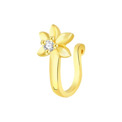 Vk Jewels Gold Plated Alloy Cz American Diamond Pressing Nose Ring