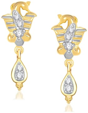 VK Jewels Mayur Feather Gold And Rhodium Plated Earrings -ER1210G [VKER1210G]