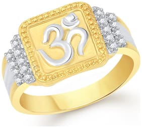VK Jewels Om Gold and Rhodium Plated Alloy Ring for Men- FR2022G [VKFR2022G]