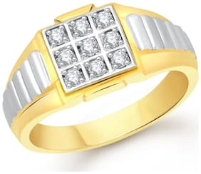 VK Jewels Stone in frame Gold and Rhodium Plated Alloy Ring for Men- FR2023G [VKFR2023G]