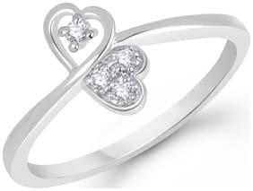 VK Jewels Sweet Love Heart Rhodium Plated Ring for Women & Girls- FR1336R [VKFR1336R]
