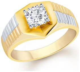 VK Jewels Watch Design Gold and Rhodium Plated (CZ) Solitaire Ring for Men- FR1092G [VKFR1092G]