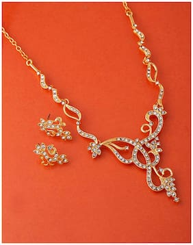 Voylla CZ Curves and Curls Necklace Set