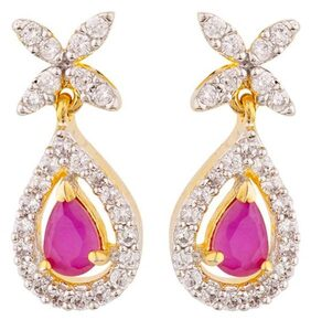 Voylla CZ White and Pink Gems Earrings For Women
