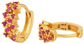 Voylla CZ Pink Stone Gold Plated Small Hoop Earring For Women