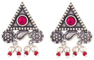 Voylla Oxidised Triangular Stud Earrings