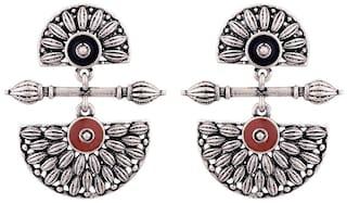 Voylla Floral Inspired Oxidised Designer Earrings
