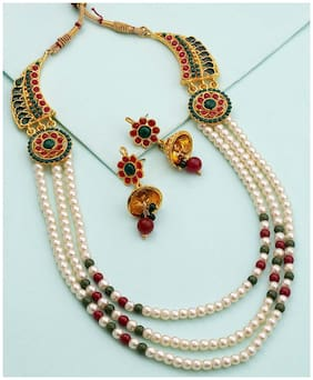 Voylla Endearing Necklace Set Embellished With Pearls And Colored Stones