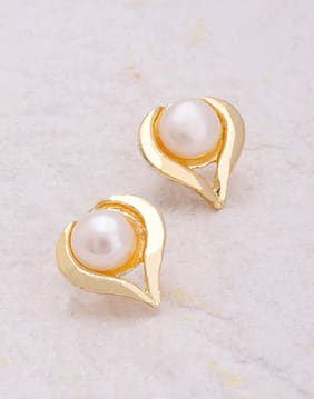 Voylla Heart-Inspired Gold Plated Stud Earrings