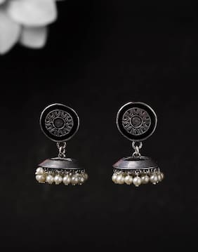 Voylla Rangabati Oxidised Jhumkis with Faux Pearls