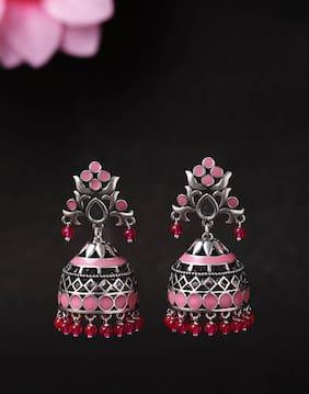 Voylla Rangabati Oxidised Pink Embellishments Jhumka Earrings