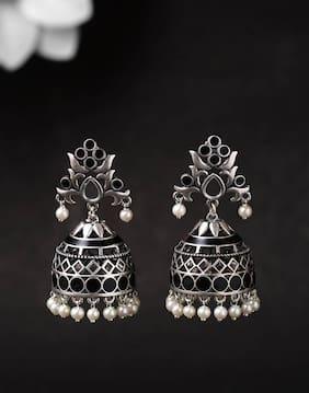 Voylla Festive Rangabati Black Enamel Embellished Earrings