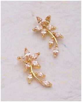 Voylla Tiny Floral Earrings with Zircon Embellishment