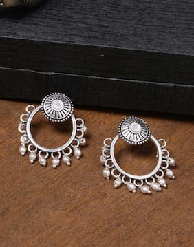 Voylla Work Essentials oxidised Ethnic Hoop Earrings