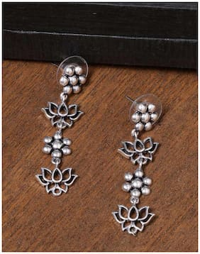 Voylla Work Essentials oxidised Layered Floral Earrings