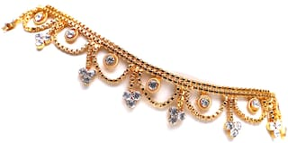 VSASA s Royale Designer Stylish  Gold Plated Anklets with Stones HANGINGS
