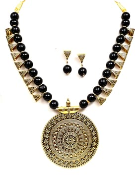 VSASA S EXCLUSIVE DESIGNER TRADITIONAL  OXIDISED PLATING ANTIQUE COLLECTION OF ROUND PENDENT EMBOSSED NECKLACE AND EARRINGS