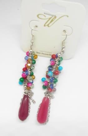 W Brand SemiPrecious Multicolor Stones Dangle Drop Fashion Long Earring Womens