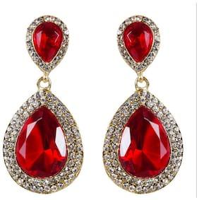 Grand Jewels Wedding Wear Traditional Maroon Hanging Earrings