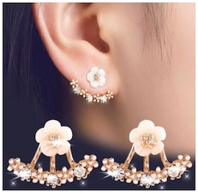 White And Golden Flower Women Casual Partywear Fashion Artificial Stud Earring