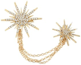 Women Men's Elegant Brooch Pin Crystal Star Chain Brooches For Suit Dress Decor