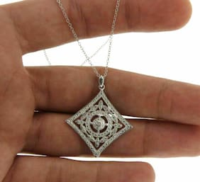 """Women's 925 Sterling Silver Dots and one Diamond Antique look 16"""" Necklace  P512"""